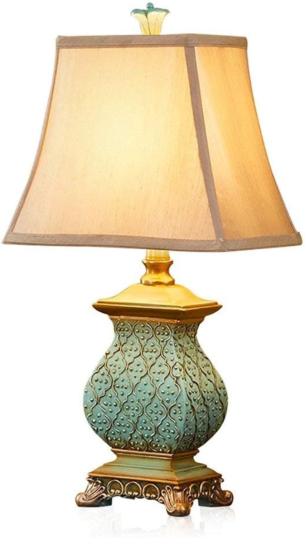 NOMEN Kreative Luxus Tischlampe Warm Retro Netzschalter Taste Harz Lampe Körper Stoff Schatten Wohnzimmer Dekoration Lichter Nachttischlampe Für Schlafzimmer Studie Leselicht B07HDY4NP5 | Am wirtschaftlichsten