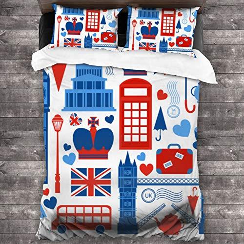 BROWCIN Juego de Sábanas London Symbols Travel Love Red Blue Flag Tea Bridge Umbrella Bus Juego de Funda nórdica y Funda de Almohada(140*200cm) Cierre de Cremallera con Lazos de Esquina