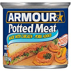 Includes twenty-four (24) 4.6-ounce cans of Armour Star Potted Meat Made with chicken and pork, enjoy this delicious and convenient canned potted meat Spread Armour Potted Meat on crackers or add it to sandwiches Ready to Eat:  Add to your canned-foo...