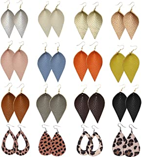 Leather Earrings Lightweight Faux Leather Leaf Dangle Teardrop Earrings Antique Handmade Earrings for Women Girls Gift 16 Pairs