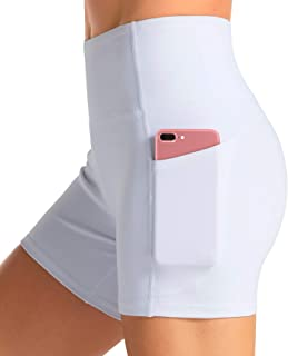 Best High Waist Yoga Shorts for Women with 2 Side Pockets Tummy Control Running Home Workout Shorts Review