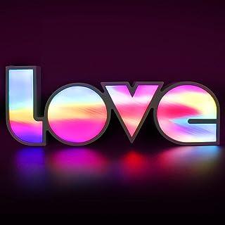 "LED Neon Love Sign Light, 14""x 5"" Rainbow Colorful Letters Sign Lights, Decoration Light for Girl Bedroom, Wedding, Christ..."