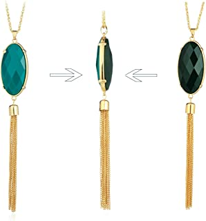 HUIMEI Long Tassel Pendant Necklace with Double Color Oval Shape Stone Reversible Pendant