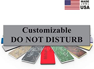 LHS Signs   Customizable Please Do Not Disturb Sign Name Plate for Office, Cubicle Privacy, Recording, Therapists, Gray Plastic & Black Letters   USA Made 2x8 - B8