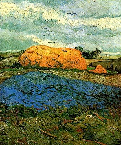 Puzzle-a Van Gogh - Haystacks debajo de un cielo lluvioso 300/500/1000 las piezas del rompecabezas, rompecabezas de madera for adultos, multicolor Puzzle-a (Size : 500PCS)