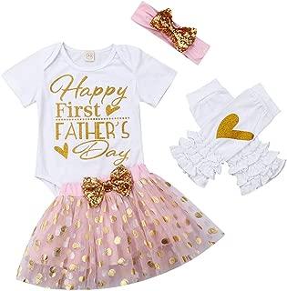 Honganda Newborn Infant Baby Girl Happy First Father's Day Outfit Bodysuit Romper+Tutu Skirt+Ruffle Leg Warmer+Headband