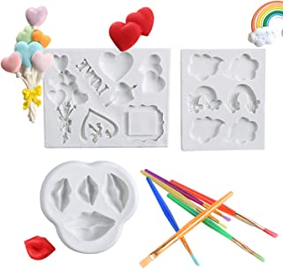 HomyPlaza 3Pack 3D Silicone Fondant Mold Set Candy Baking Mold for Cake Decoration Rainbow Cloud Lip Heart Shaped Mold with Brush for Wedding Baby Shower Party Supplies
