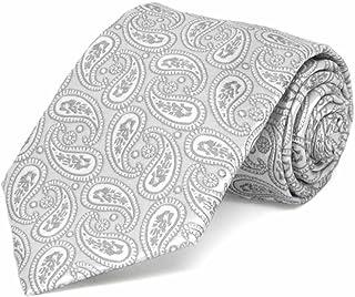 TieMart Boys' Pale Silver Darlene Paisley Necktie