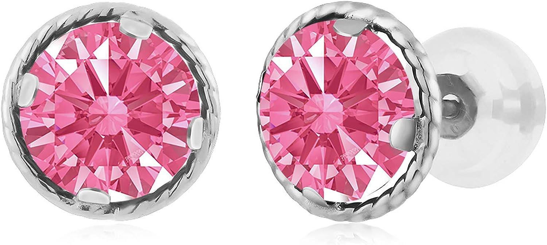 Carlo white Fancy Pink 14K White gold Earrings Made With Swarovski Zirconia