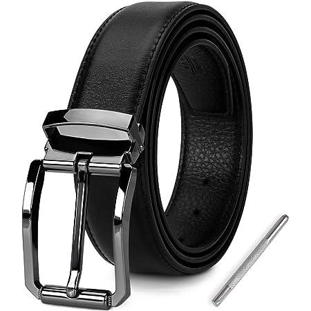 NEWHEY Cinturon Hombre Cuero cinturones piel Jeans hombre negro hebilla cinturon hombre 3cm ancho 115cm con caja de regalo.