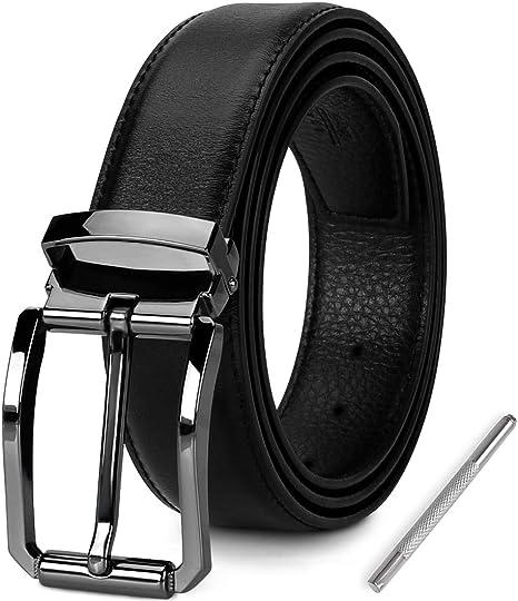 NEWHEY Cinturon Hombre Cuero Cinturones Piel Jeans Hombre Negro Hebilla Cinturon Hombre 3cm Ancho 125cm con Caja de Regalo.