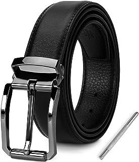 NEWHEY Cintura Uomo Regolabile Fibbia Antigraffio Casual Formali Cintura Uomo Pelle Larghezza 30mm 115cm Confezione Regalo