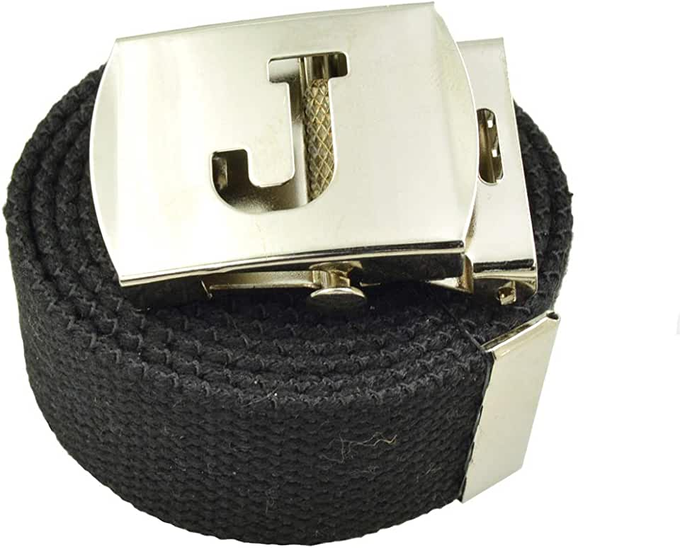 ACCmall Capital Initial J Canvas Military Web Black Belt & Silver Buckle 60 Inch