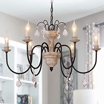 OSAIRUOS Retro French Chandelier White Distressed Wood Rust Metal Arms Candle Style Chandeliers 6 Lights for Living Dining Room W27.6'' Bonus Bulbs