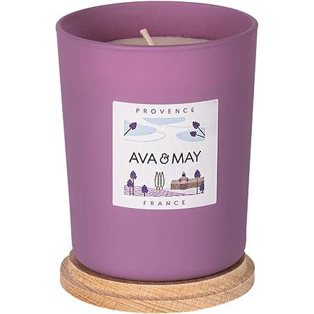 AVA & MAY Provenza Candela profumata (180g) – Vasetto con Candela in Cera vegetale dal Profumo di Lavanda, Rosa e Limone – Candele Artigianali Floreali