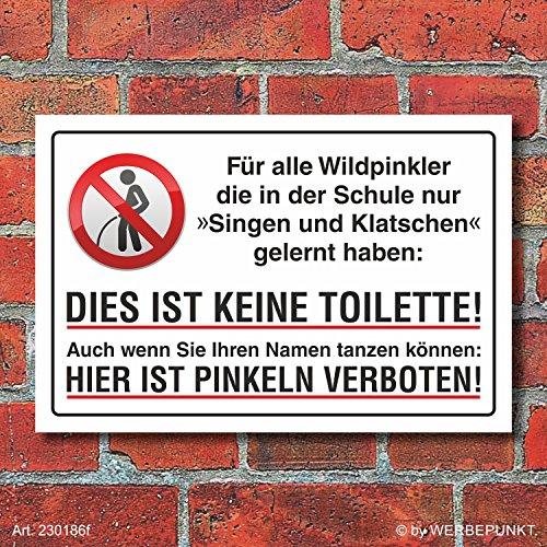 WERBEPUNKT. Schild Pinkeln Pissen Urinieren verboten Singen und Klatschen Alu-Verbund 600 x 400 mm