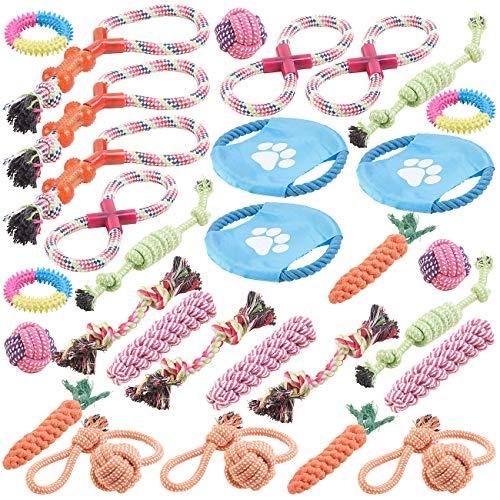 Sweetypet Hunde Zubehör: 30er-Set Bunte Hundespielzeuge aus Baumwolle zum Kauen und Toben (Wurfspiel für den Hund)