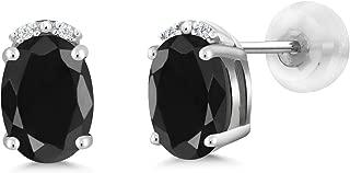 Gem Stone King 2.17 Ct Oval Black Sapphire White Diamond 10K White Gold Earrings