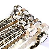 Yubbaex マスキングテープ スーツ黒 金箔押し プレゼント包装、DIY工芸品、ノートの装飾に使える (15mm幅 x 10巻)