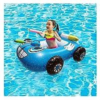 膨脹可能な水泳車の座席、子供のための玩具プールのフロートのための水のジェットバンパーカーのおもちゃプールいかだの水泳リング携帯用水のおもちゃ(赤と青),ブルー