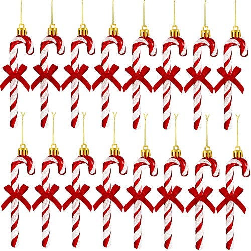 18 Stücke 130 mm Weihnachten Glitter Zuckerstange Weihnachtsbaum Schmuck Glänzende Hängende Ornamente mit Band Bowknots für Weihnachtshochzeitsfeier (Rot)