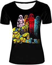liujinsheng Mens 3D Printed colorful Space Man Fight Graphic Couple T Shirts