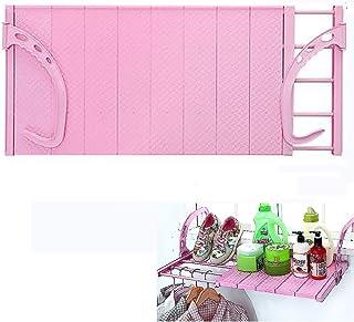 Tendedero, telescópico ajustable Balcón de ropa plegable del radiador secado Tendedero colgante por encima de la puerta O de baño alféizar de barandas Corredor interior al aire libre,Pink large