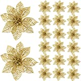 SATINIOR 20 Pieces Glitter Christmas Tree Ornaments Artificial Wedding Christmas Poinsettia Flowers for Festival Decoration (Gold)