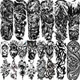 VANTATY 20 Sheets Extra Large Full Arm Temporary Tattoos For Men Adults, Tiger Snake Leopard Lion King Temporary Tattoos Sleeve For Women, Temp Waterproof Fake Tattoo Stickers For Kids Warrior Tatoos
