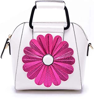 Trendy Ladies Sun Flower Tote Cute Sweet Smiley Tote Bag Fashion Simple Shoulder Bag Zgywmz (Color : White, Size : 20 * 13 * 21cm)