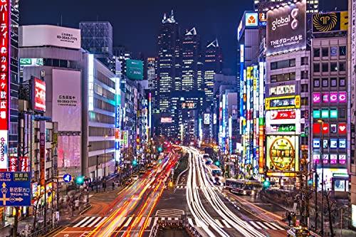 TOKYO Fototapete VLIES-350x260 cm (4773A)-Japan Berlin Paris London New York City Skyline Wandtapete-Inkl. Kleister-Vliestapete Bild Dekoration Wand-Dekor Moderne Motiv-Tapete Panorama Poster XXL