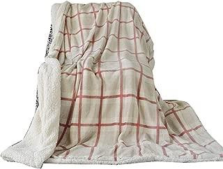 Uozzi Bedding Sherpa Fleece Blanket Warm Soft Luxurious Full/Queen Size Plush TV Fuzzy Microfiber Red Plaid Flannel Spring Lightweight Bed Blanket (80x90)