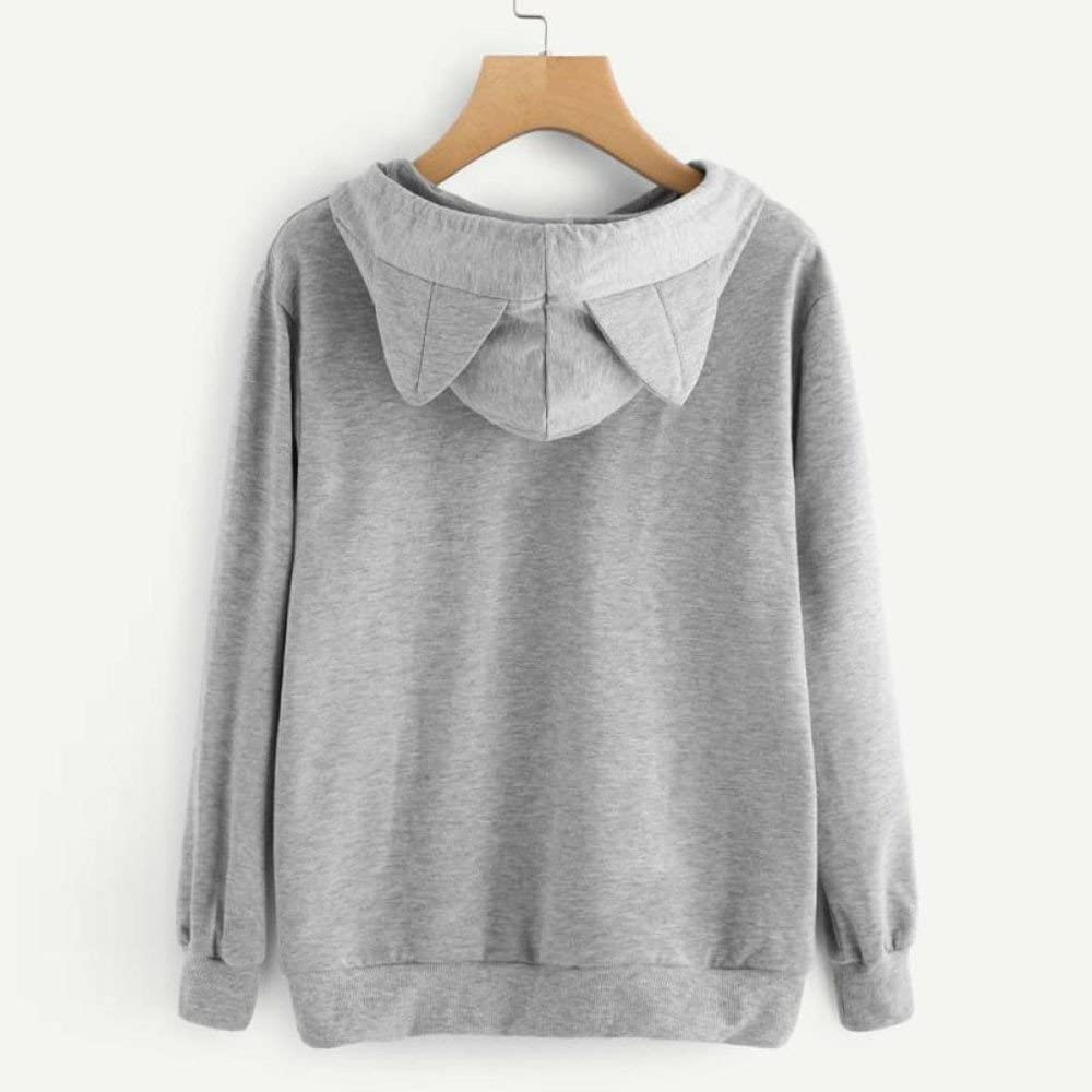 Xmiral Hoodie Pullover Damen Cat Drucken Kapuzenpullover Sweatshirt Casual Langarm Top Grau