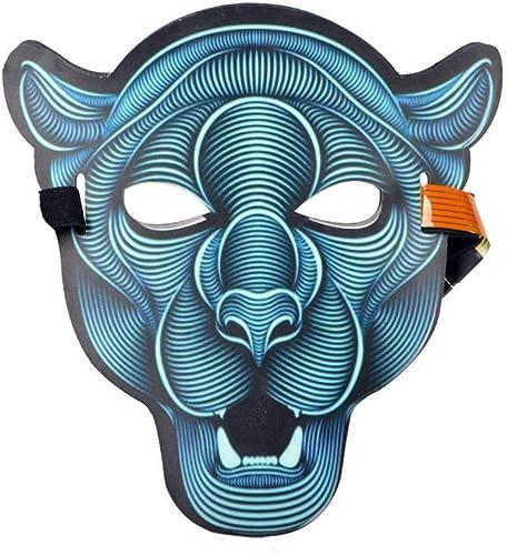 NUOKAI Belichtete Sprach-aktivierte grelle Maske Erwachsene Halloween-Horrornacht-Partei-Partei-Leuchtstoff-LED-Maske, Leopard