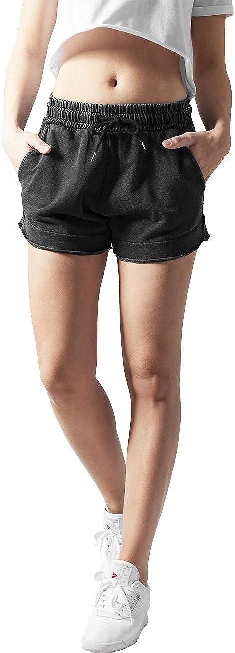 Urban Classics Ladies Acid Wash Terry Hotpants Shorts para Mujer