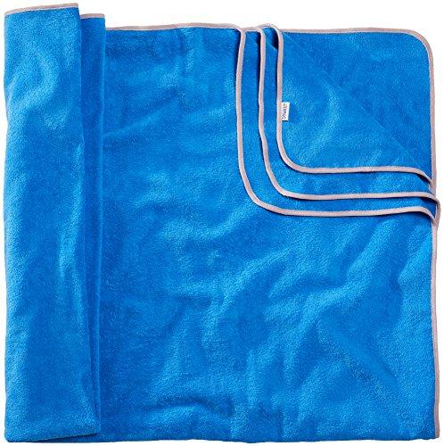 Sowel® Toalla de baño grande de 200 x 160 cm, 100% algodón orgánico, tamaño XXL, mullida, color azul y gris