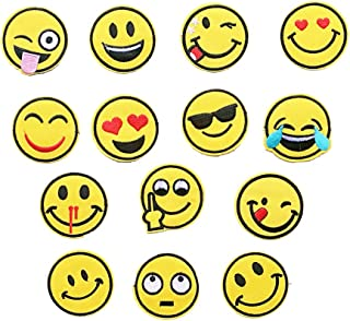 Yesallwas 14 Pieces Iron on Embroidered Emoji Patches Smile Sew on Patches Patch for Jeans Clothing Hat Shoes