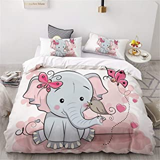ADASMILE A & S Elephant Duvet Cover for Kids Girls Lovely Cartoon Animals Elephant with Butterfly and Bird Bedding Set 1 C...