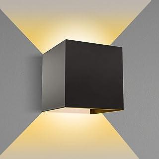 Apliques Pared LED, TOLARE 6W 3000K De Angulo De Haz Ajustable Aplique Pared Interior, IP65 Impermeable Lamparas De Pared Exterior, Para Salon, Dormitorio, Pasillo, Escalera, Patio, Balcón [ Negro ]