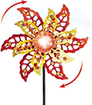 Collections Etc Solar Double Flower Garden Spinner is Accented with Sparkling Beads and Stands Almost 5-Feet Tall