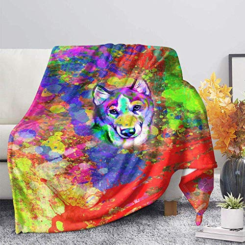 ZGZZD Sofa Throw Blankets,Winter Soft Warm 3D Print Sofa Throw Blanket Chic Cartoon Colorful Starry Dog Animal Printed King Size Fluffy Blanket For Bed Couch Camping Travel,110X140Cm