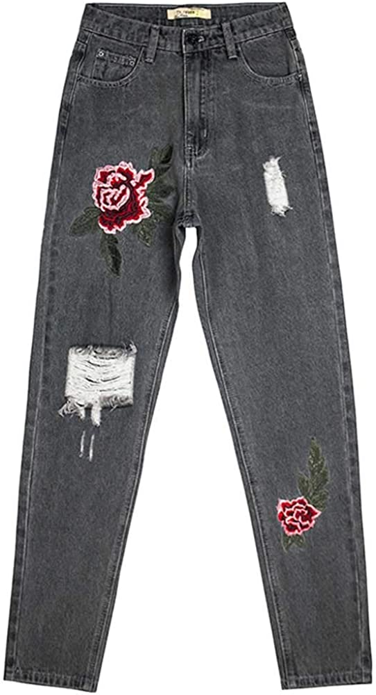 Women's Floral Relaxed Straight Jeans Regular Fit Stretch Ripped Embroidered Denim Pants