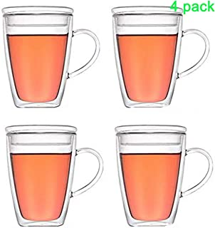 Double wall glass coffee mug with lid and handle,hand blown&lead free,Multi-useTop quality espresso/Double Walled Thermos/Insulated Coffee/tea Mugs, Set of 4 (12 oz,350ml)