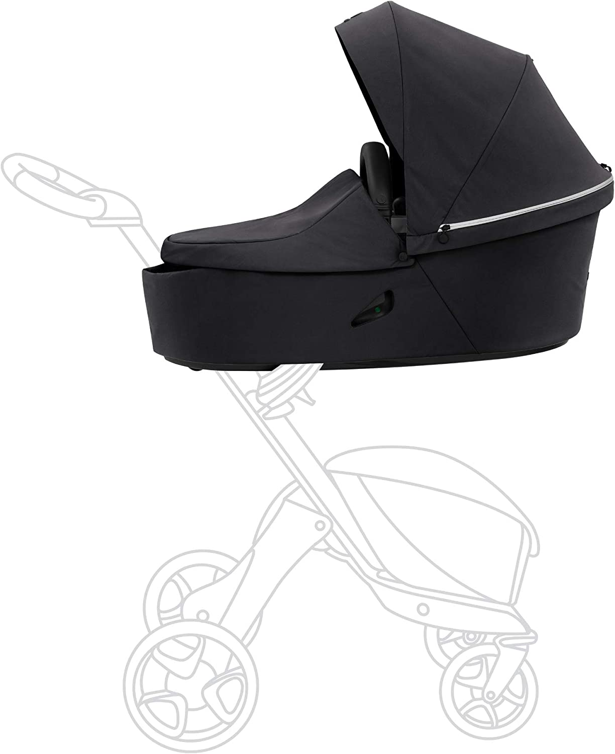 Stokke Xplory X Carry Cot, Rich Black - Detachable Cot for Xplory X Stroller - Soft Interior Lining & Breathable Mattress - with Extended Canopy, Removable Wind Cover & Two Easy-Access Pockets