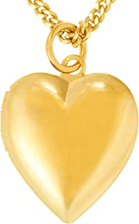 Lifetime Jewelry Heart Necklace Locket for Kids [ Plain Simple Gold Locket and 18 inch Chain ] 20X More 24k Plating Than Other Kids Locket Necklace That Holds Pictures - Lifetime Replacement Guarantee