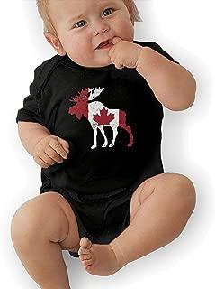 LWI DIW Moose Canada Flag Comfortable Newborn Baby Boys Girls Soft Short-Sleeve Bodysuit Romper Outfits