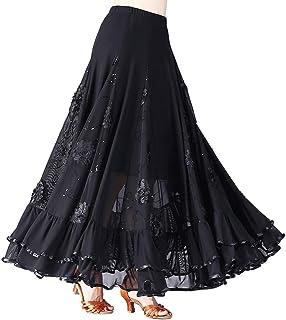 Hongyuangl Floral Pailletten Latin Flamenco Tanzkleid Tango Walzer Rock B/ühnenkost/üm Spanischer Stierkampf Rock