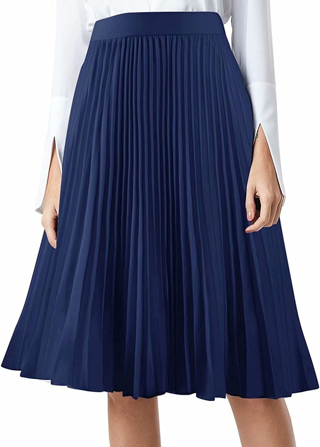 MisShow Women High Elastic Waist Pleated Chiffon Skirt Midi Swing A-line Skirts for Prom Party