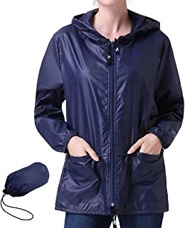 Popoem Women's Lightweight Hooded Rain Jacket Waterproof Raincoat Windbreaker Packable Active Outdoor Zipper Hoodie