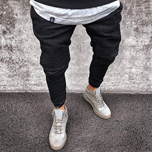 Pantalones Vaqueros de Motociclista Ajustados y Rasgados elásticos para Hombre Pantalones elásticos para Hombre Pantalones de lápiz Jogger de Color Puro S-4XL s Negro